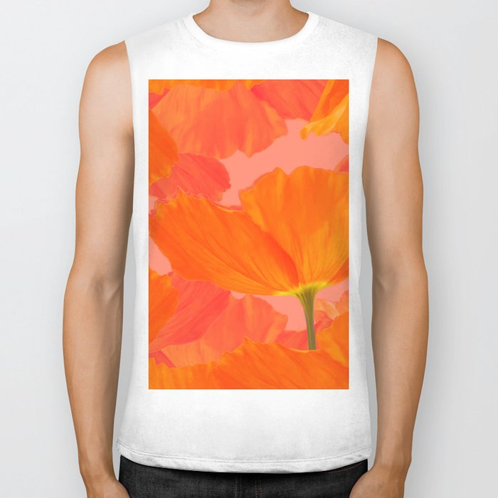 Beautiful Poppies Coral Color Background #decor #society6 #buyart Biker Tank