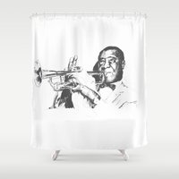louis armstrong Shower Curtains featuring Louis Armstrong, Satchmo or Pops by 1and9
