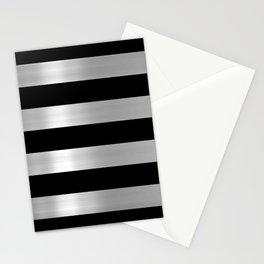 Black & Silver Metallic Stripes Stationery Cards