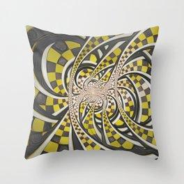 Liquid Taxi Cab, a Yellow Checkered Retro Fractal Throw Pillow