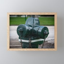 Tilting Green Waterous Pacer Fire Hydrant Crooked Fire Plug Framed Mini Art Print