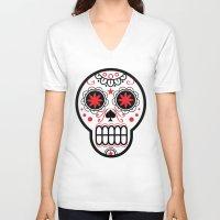 sugar skull V-neck T-shirts featuring sugar skull by Diseños Fofo