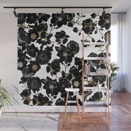 Modern Elegant Black White and Gold Floral Pattern Wall Mural