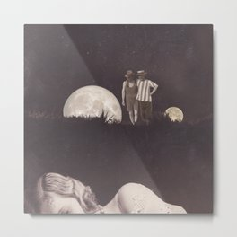 Moon on a meadow vintage 1920s Metal Print