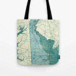 Delaware State Map Blue Vintage Tote Bag