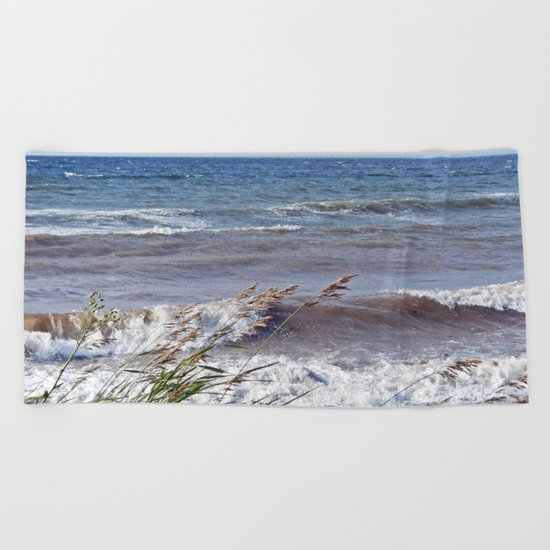 Waves Rolling up the Beach Beach Towel