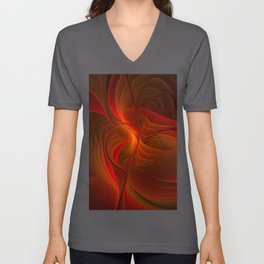 Warmth, Abstract Fractal Art Unisex V-Neck