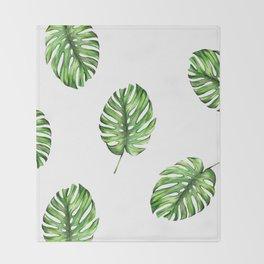 Monstera green leaves Throw Blanket