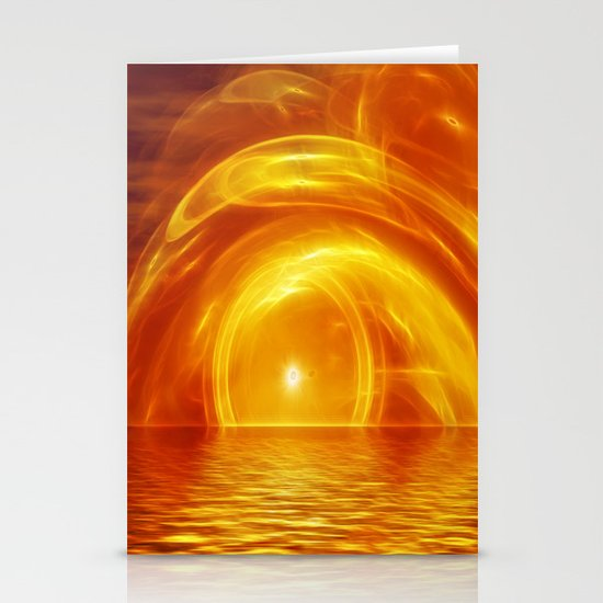 Sunset fractal Stationery Cards