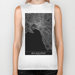 Melbourne Black Map Biker Tank
