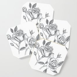 Twin Roses Inked Drawing Coaster