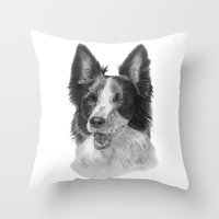 border collie Throw Pillows featuring Border collie by Doggyshop