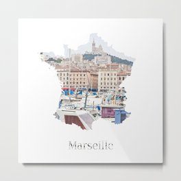 Marseille Landscape Travel Map Metal Print