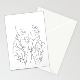 Minimal Line Art Summer Bouquet Stationery Cards