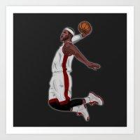 lebron Art Prints featuring Lebron James by siddick49