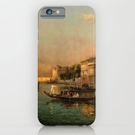 Venice Doge Palace and St. Marks landscape painting by Antoine Bouvard iPhone Case