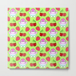 Cute funny sweet adorable happy baby penguins, little cherries and red ripe summer strawberries cartoon fantasy bright lime green pattern design Metal Print