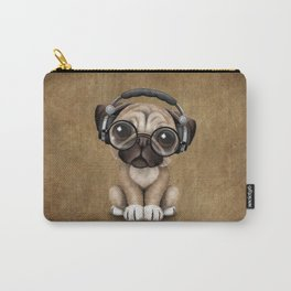 Cute Pug Puppy Dj Wearing Headphones and Glasses Carry-All Pouch