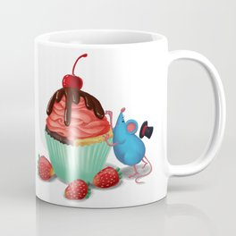 Mr. Bluemouse and a Strawberry Cupcake Coffee Mug