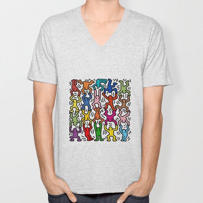 Homage to Keith Haring Acrobats II Unisex V-Neck