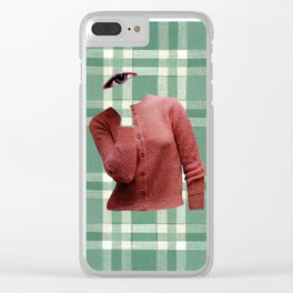 Pink Cardigan Clear iPhone Case