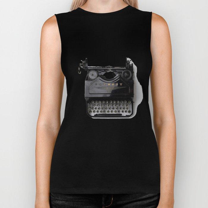 Typewriter (Black and White) Biker Tank