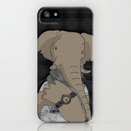 Hipster Elephant  mixed media digital art collage iPhone Case