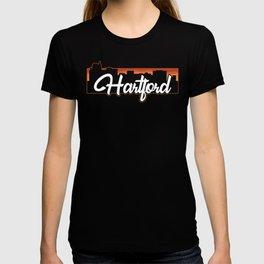 Vintage Hartford Connecticut Sunset Skyline T-Shirt T-shirt