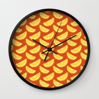 orange pattern Wall Clocks featuring Orange Pattern by rusanovska