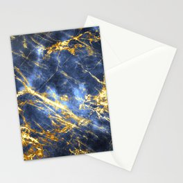Ornate, Classic Gold and Sapphire Marble Stationery Cards