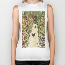 Gustav Klimt Garden Path With Chickens Biker Tank