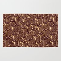 buildings Area & Throw Rugs featuring Buildings by Mario Zucca