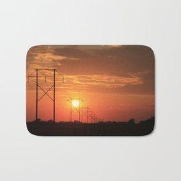 Kansas Country Power Line Sunset Bath Mat