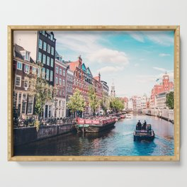 Colorful Amsterdam Canals | Europe Travel City Urban Landscape Photography Serving Tray