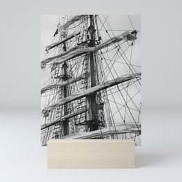Sailing Ship black and white photo 2 Mini Art Print