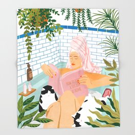 How To Have A Spa Day At Home #illustration Throw Blanket
