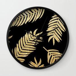 Gold Glitter Palms  |  Black Background Wall Clock