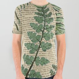 Book Art Page Botanical Leaves All Over Graphic Tee