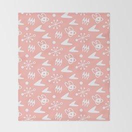 Mid Century Modern Atomic Boomerang Pattern Peach Throw Blanket