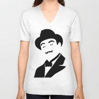 hercules V-neck T-shirts featuring Hercules Poirot by b & c