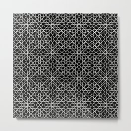 Black and white pattern - oriental style,  geometric mosaic Metal Print