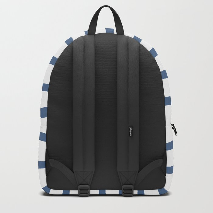 Simply Drawn Stripes in Aegean Blue and White Backpack