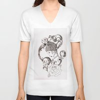 mirror V-neck T-shirts featuring Mirror by Bake