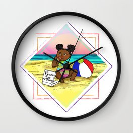 Pizza love at the beach Wall Clock