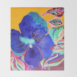 Birthday Acrylic Blue Orange Hibiscus Flower Painting with Red and Green Leaves Throw Blanket