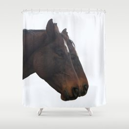 Twin Horses Photography Print Shower Curtain