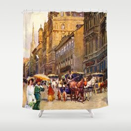 Great vintage belle epoque scene Vienna Austria  Shower Curtain