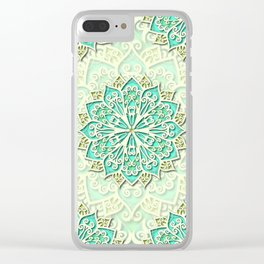 White cyan and yellow Beautiful Wedding Mandala Clear iPhone Case