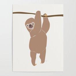 Hanging Around Sloth Poster