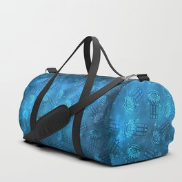 Hamsa Hand Magic Eye Blue Watercolor Art Duffle Bag